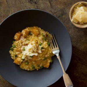 risotto con calabaza y panceta