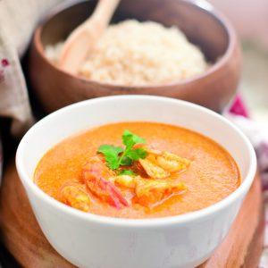Curry con langostinos