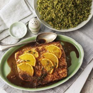 Salmon con naranja y cuscus de brocoli
