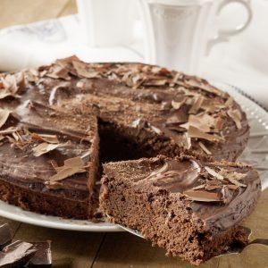 Torta de chocolate dos texturas