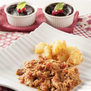 Pollo a la provenzal con patatas y pudin de chocolate-v-hpr
