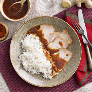 Lomo de cerdo en salsa thai con arroz al vapor, H RGB 200503_147-hpr