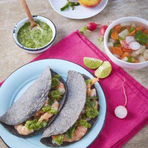 Sopa de verduras tacos de camaron duraznos al vapor-scr