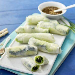 Rollitos de primavera con algas wakame y espirulina V-scr